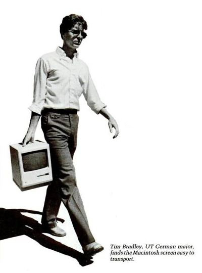 An indentation in the top of the Macintosh case made it easier for the computer to be lifted and carried. Future Macs included similar carrying capabilities.