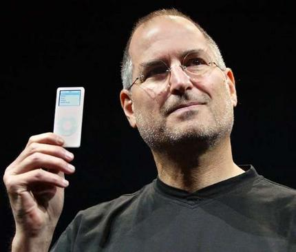 Wait, that's an iPod?? Jobs slipped the diminutive music player out of his pocket in 2005 to an astonished audience. The iPod Nano was as thin as a pencil and held up to 4GB of music. It even had a color screen to boot.