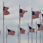 Flags outside Washington Monument