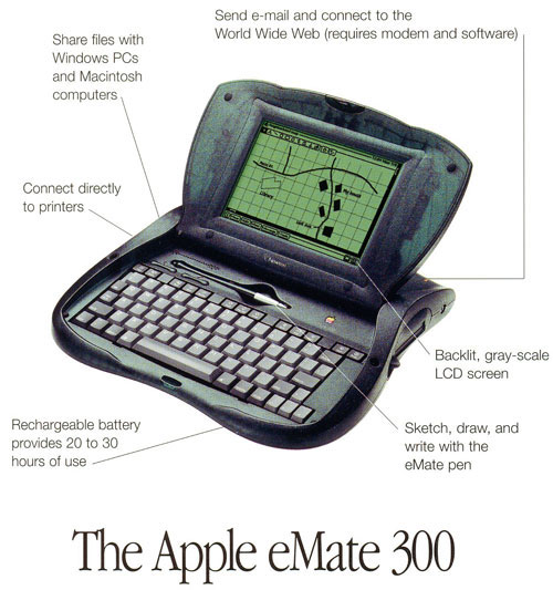 "When he returned to Apple in 1997, Jobs killed off the Newton line, including the eMate 300. However, its design elements would inspire Apple's first reinvention of the laptop and its transition to ""cool"": the iBook."