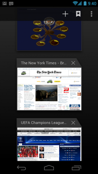 Ice Cream Sandwich has a sleek new browser that uses a tab motif similar to Honeycomb.