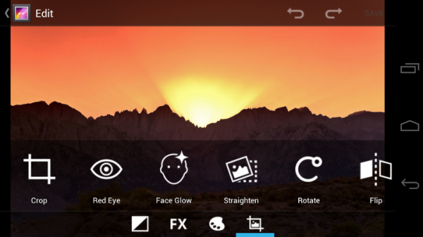 Users can now edit photos and apply art effects from within the the Android Photo Gallery.