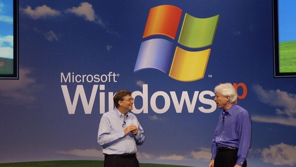 Bill Gates and Jim Allchin kick off the Windows XP launch event, Oct. 25, 2001. [Nate Mook]