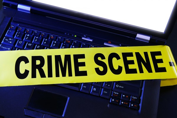 Laptop crime scene