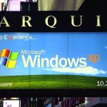 Sign of the Times -- the launch took place in New York about six week after the Twin Towers fell. Microsoft culled back its launch plans in respect to the fallen. [Nate Mook]