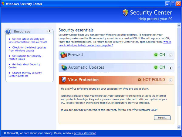 "Keeping with Bill Gates' mandate that security be Microsoft's top priority, Windows Service Pack 2 added the ""Security Center"", featuring Firewall, Automatic Updates and antivirus prompts. [Microsoft],"