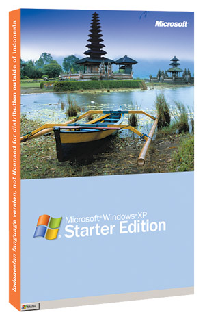 On Aug. 11, 2004, Microsoft unveiled Windows XP Starter Edition, which two months later went into trials in  Indonesia, Malaysia and Thailand. Shown here is box for the Indonesian edition. [Microsoft]
