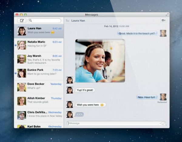 Messages brings to Mac OS X the client in iOS 5. The app is available now, in beta, ahead of Mountain Lion's release. Installation replaces Lion's iChat. The feature relies heavily on sync to keep the message thread going. Start a message on the Mac and resume it on iPad or iPhone. Delivery and read receipts also are available.