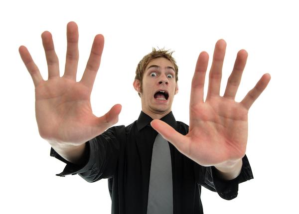 panic hands due man afraid