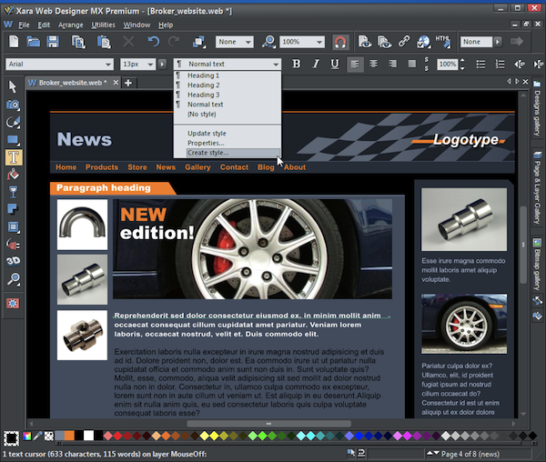 xara web designer widget