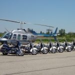 Helicopter and motorcycles