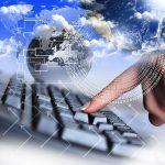 cloud storage finger keyboard globe