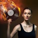 vinyl record music fire