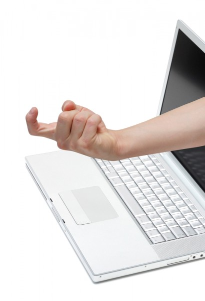 hand arm laptop security phishing lure scam