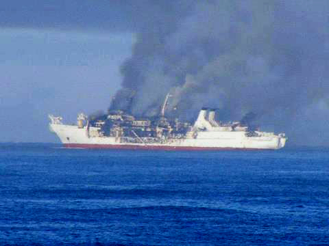 Legendary Fiber Optic Cable Ship Burns To A Crisp On