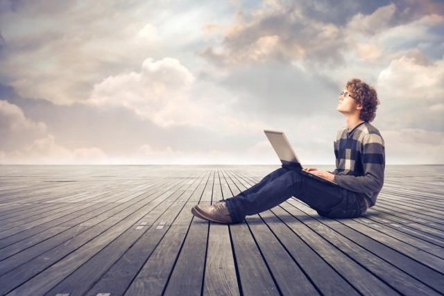 man parquet laptop notebook cloud remote