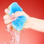 sponge water hand