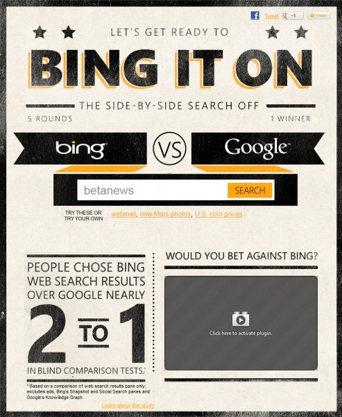 The quest for the best search engine: Bing It On