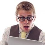 nerd tablet geek surprise shock disbelief