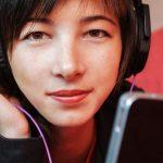music woman tablet headphones