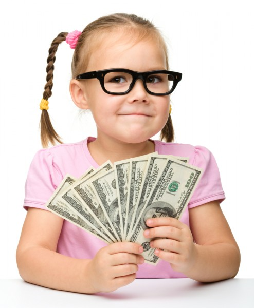 Child - girl - with money dollars