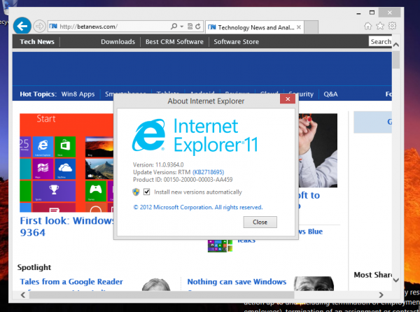 windows blue ie 11