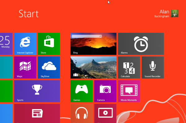 windows blue start screen in red