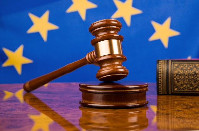 European Union EU flag gavel justice