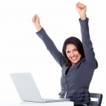 Happy Business woman office PC