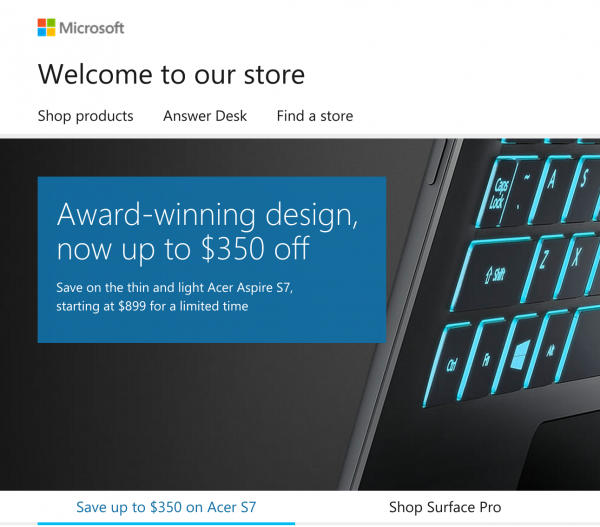 8aecd81280b7 Microsoft Store begins major online makeover