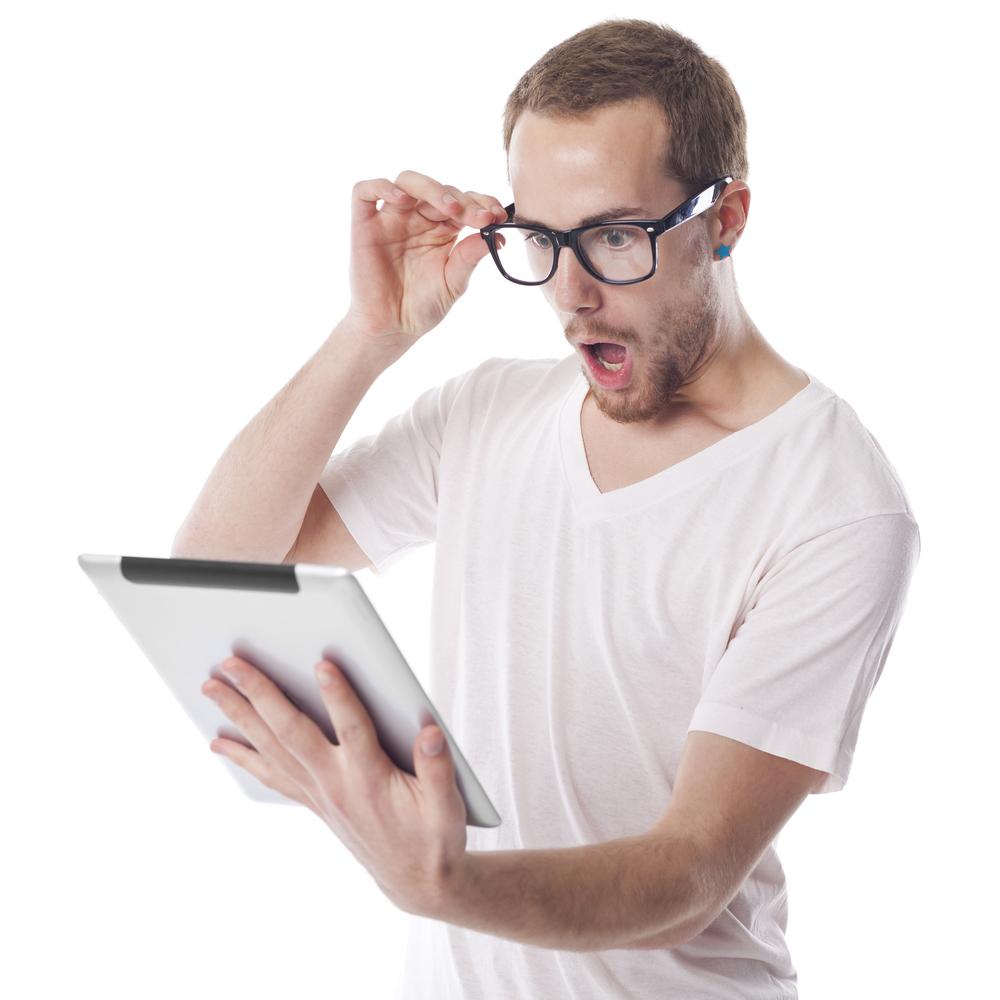 Surprised man tablet