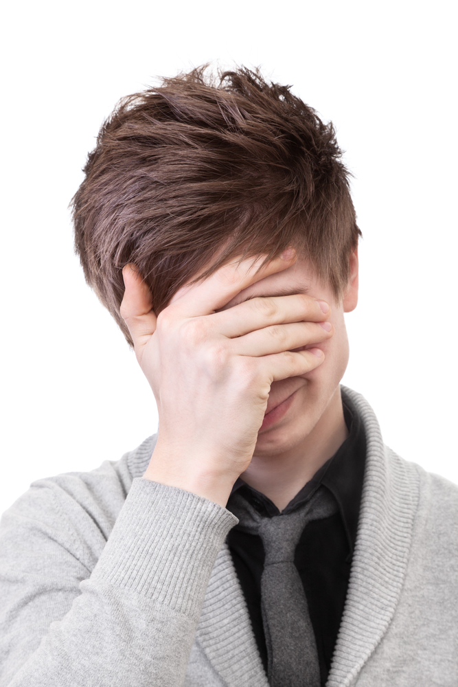 face palm head in hands embarassed