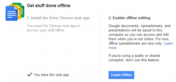 google docs how to turn on offline sync