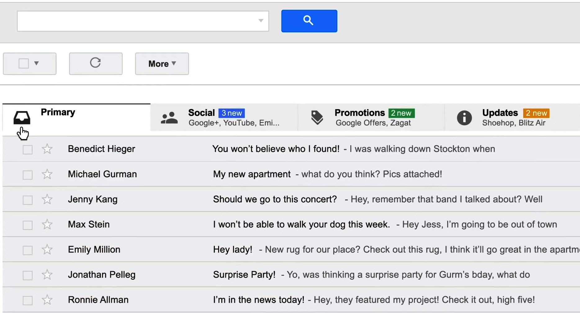 tabbed gmail inbox back