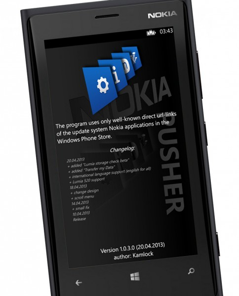 Update hidden Nokia Windows Phone apps with LUMIA pusher