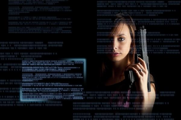 cybercrime cyber terrorism hacker gun malware security