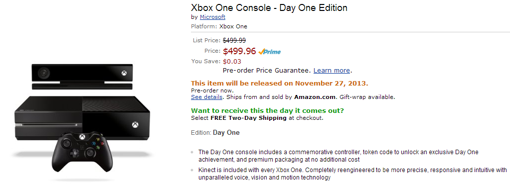 did amazon leak the xbox one release date. Black Bedroom Furniture Sets. Home Design Ideas