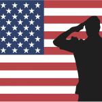 Saluting Flag USA Soldier Man