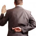 Businessman Suit Fingers Crossed Swear