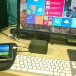 Microsoft surface 2 hooked to a 23 inch LCD,  apple keyboard, Logitech trackpad and bt speaker