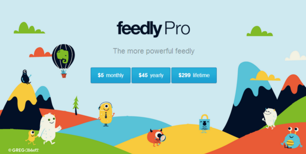 Feedly Pro's $299 lifetime subscription