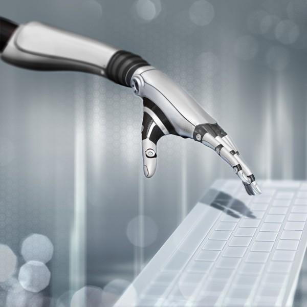 robot hand keyboard