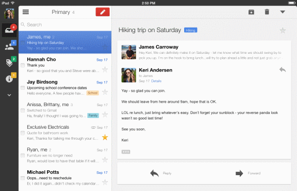 Gmail for iPad gets a slick new look