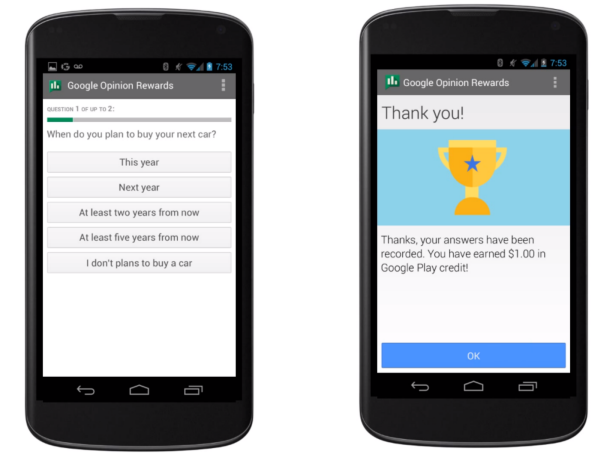 Google Opinion Rewards lets you earns money by completing surveys