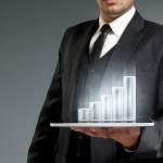 Businessman Growth Increase Bars Bar