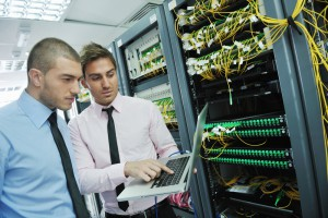 group young business it network server room solving help support