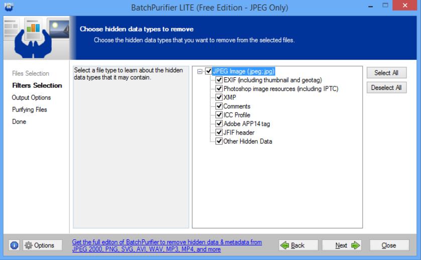 BatchPurifier LITE quickly strips JPEG metadata