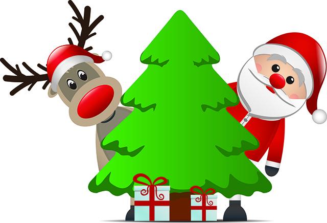 reindeer santa claus christmas tree gift