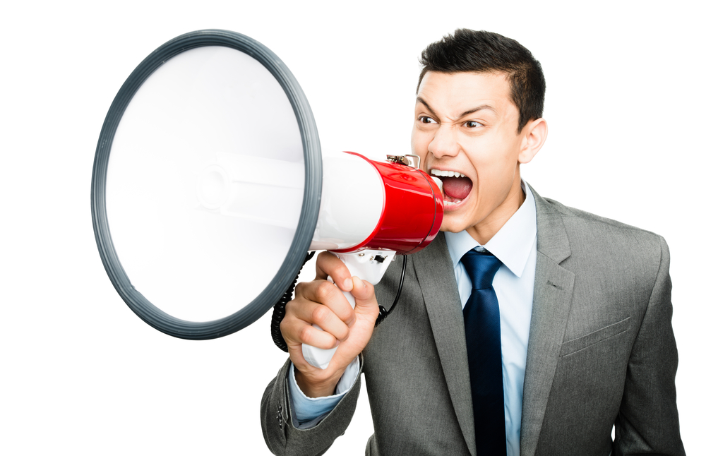 Shouting Screaming Man Suit Businessman Megaphone
