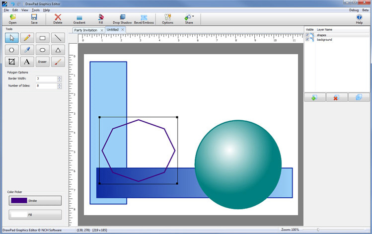 First Look Drawpad Graphics Editor